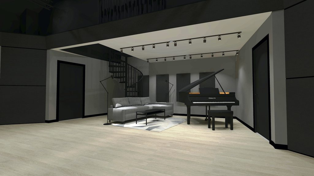 Rendering of what the lobby of the studio will look like when complete.